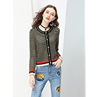 Xuanku NO PEI SHU Women's Sports Casual/Daily Active Fall Jacket,Striped Round Neck Long Sleeve Regular Cotton Polyester