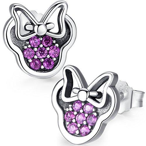 Orecchini scintillanti Twenty Plus a forma di Minnie, con pietre di ossido di zirconio rosa. Gioielleria per donne e ragazze