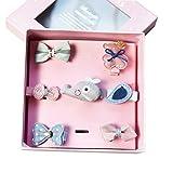 Jelinda Baby Mädchen Haarklammer Haarspange Set 7Pcs, Cartoon-Muster, Kopfschmuck,Haar Accessoire Kopfbedeckung aus Ripsband und Metall (Rosa+Blau)