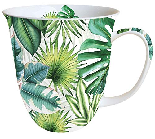 Porzellantasse Tropical Leaves Urban Jungle Becher Bone China 0,4l Kaffeebecher Henkelbecher -