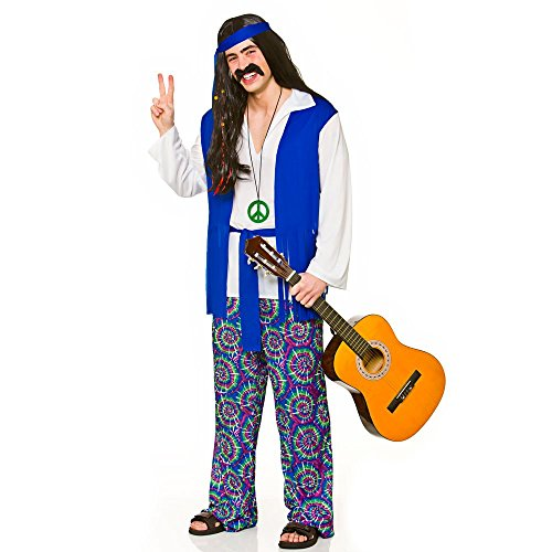 Adult Mens Groovy Hippie Fancy Dress (Men: Large)