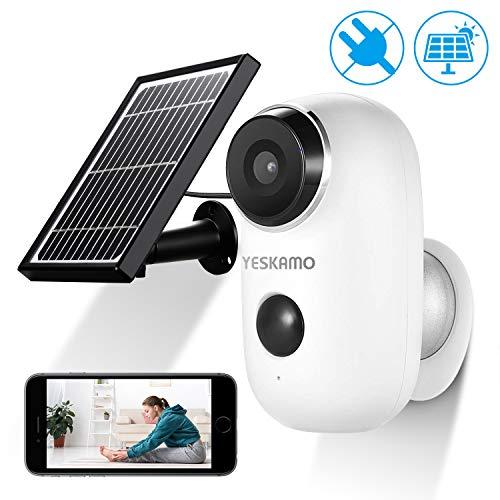 AKKU Überwachungskamera mit Solarpanel Kabellos WiFi Kamera wasserdicht intelligente IP Kamera WLAN, Bewegungsmelder, Nachtsicht Überwachungsystem Zwei Wege Audio Kamera für innen und außen