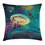 FAFANI Fantasy Art Decor Throw Pillow Cushion Cover, Giant Jellyfish and Diver in The Sea Underwater Submarine Aquatic Art, Decorative Square Accent Pillow Case, 18 X 18 Inches, Teal Purple