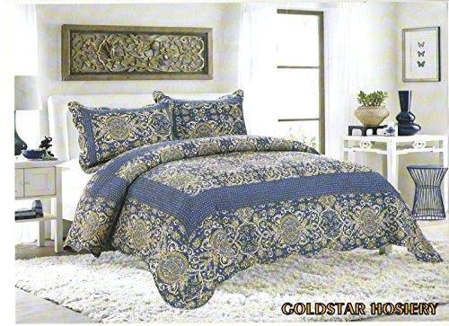 Luxus Baumwolle gesteppt bestickt 3-teiliges Bettwäsche Tröster Bett Set–Doppelbett King Size Tagesdecke + 2Kissenbezüge:, baumwolle, GS9351 Navy, Double/King (Bestickte Bettwäsche Tröster)