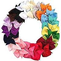 PIXNOR Arco dei capelli clip di capelli di ragazze capelli clip Grosgrain Ribbon per bambini 20 colori - Grosgrain Clip Arco