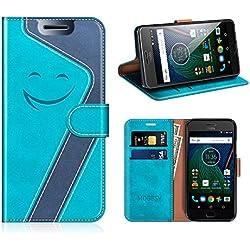 MOBESV Smiley Portefeuille Motorola Moto G5, Coque Cuir Motorola Moto G5 Magnétique Étui Housse Cover avec Porte Cartes La Fonction Stand pour Motorola Moto G5, Aqua/Bleu Fonce