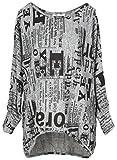 Emma & Giovanni - Oversize Langarmshirt/Pullover- Damen (M/L, Grau)