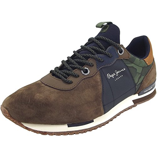 Pepe Jeans Tinker Racer Mix, Sneakers Basses Homme Marron (Stag)