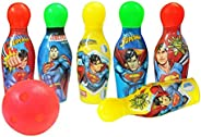 Zitto Superman Bowling Set Plastic 6 Pins 1 Balls Educational Mini Bowling Toy for Kids