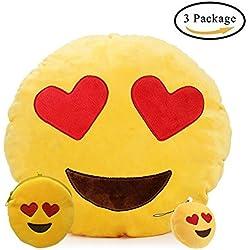 Emoji Cojín , Emoticono Almohada Redonda Emoticon Peluche (Corazón Ojos)
