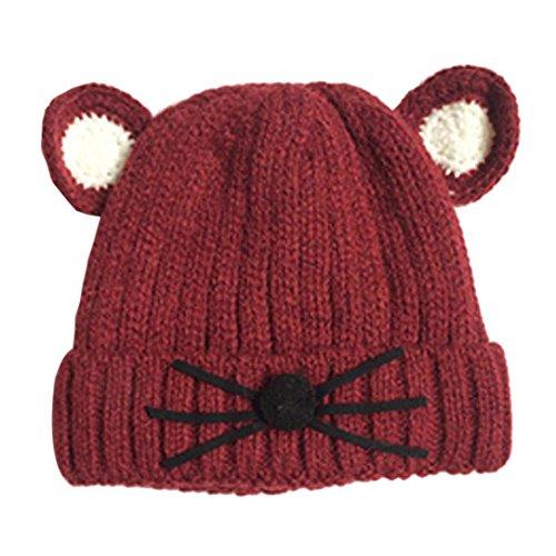 Babybekleidung Hüte & Mützen Longra niedlichen Baby Kleinkind Maus Druck vertikale Streifen gestrickt Winter warme Mütze Kappe (0-5years) (coffee)