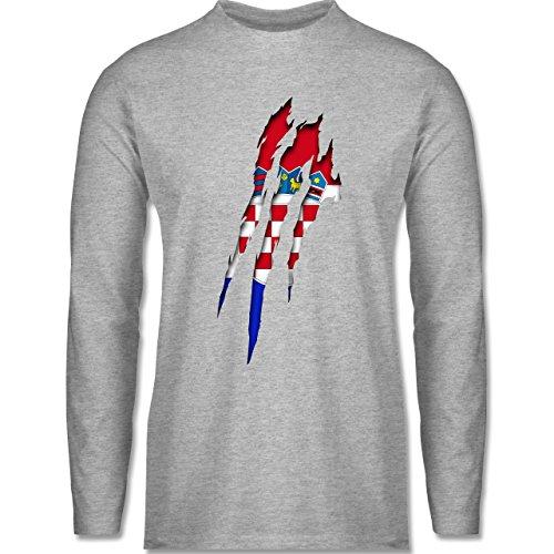 Länder - Kroatien Krallenspuren - Longsleeve / langärmeliges T-Shirt für Herren Grau Meliert