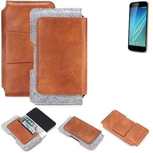 K-S-Trade® Für Allview P6 Lite Gürteltasche Schutz Hülle Gürtel Tasche Schutzhülle Handy Smartphone Tasche Handyhülle PU + Filz, Braun (1x)