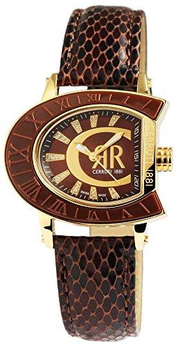 Cerruti Ladies Watch with Genuine Leather Strap Brown Gold Stainless Steel Elegant CCRWO013H233U
