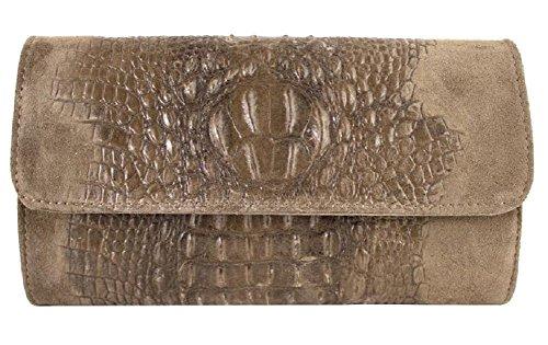 Pochette in vera pelle scamosciata stampa coccodrillo con catena BC504 Taupe