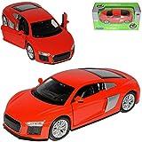 Welly Audi R8 V10 Coupe Rot Modell 2. Generation ab 2015 ca 1/43 1/36-1/46 Modell Auto mit individiuellem Wunschkennzeichen