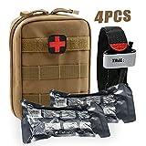 BUSIO Trauma Erste Hilfe Set Paramedic-Medical Tactical Survival Bag Militärkampf Tourniquet + 6 Zoll Notfall israelischer Verband Kleiner IFAK Beutel für Kajak Sportarten
