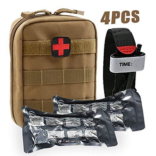 BUSIO Trauma Erste Hilfe Set Paramedic-Medical Tactical Survival Bag Militärkampf Tourniquet + 6 Zoll Notfall israelischer Verband Kleiner IFAK Beutel für Kajak Sportarten -