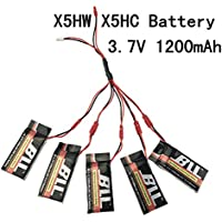Fytoo Accessories 5PCS 3.7V 1200mah LiPo Battery + 5 in 1 Charging Clable for SYMA X5HW X5HW RC Quadcopter Drone BatterySpare Parts Set - Compare prices on radiocontrollers.eu