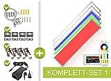 LongLife LED GmbH by HK - Pannello LED RGB+CCT, 120 x 30 cm, 44 W, 24 V, colori RGB, tonalità pastello e temperatura di colore di 2700 K-6000 K, dimmerabile, con telecomando, supporto da parete e soffitto, cavo di sospensione e morsetti