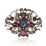 Skyllc Exquisito retro hueco Rhinestone Pin estilo occidental artificial joyas de broche de cristal Azul