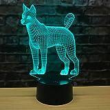 3D Illusione LED Luce notturna Nuovo cucciolo Husky moda tocco visivo telecomando ricarica sette luci di colore atmosfera lampada da tavoloLED