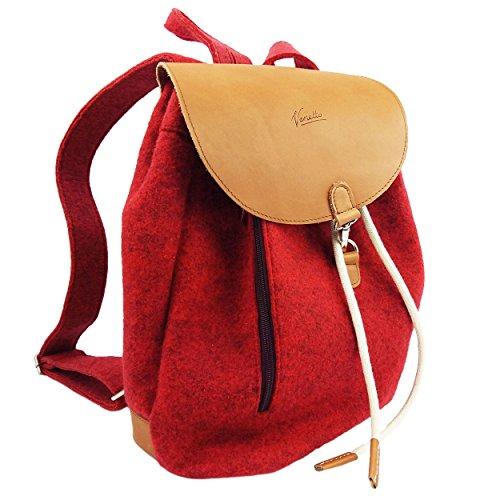 e87432806d30a Venetto Designer Rucksack aus Filz und Leder Elementen sehr leicht backpack  unisex (Grau) Rot ...