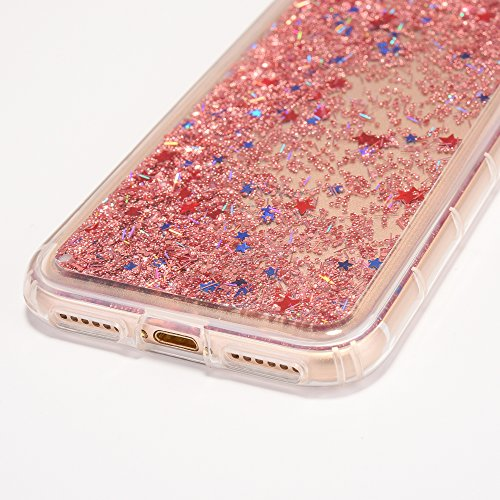 iPhone 7 Hülle, Voguecase Anti-Fall-Treibsand Silikon Schutzhülle / Case / Cover / Hülle / TPU Gel Skin für Apple iPhone 7/iPhone 8 4.7(Star/Rose Gold) + Gratis Universal Eingabestift Star/Rose Gold