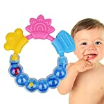 JUYUAN-EU Silicone Bite Teether Keys, Food Grade Silicone Infant Teething Toy Baby Chew Teething Toddlers Rattling Ring 1pcs Blue
