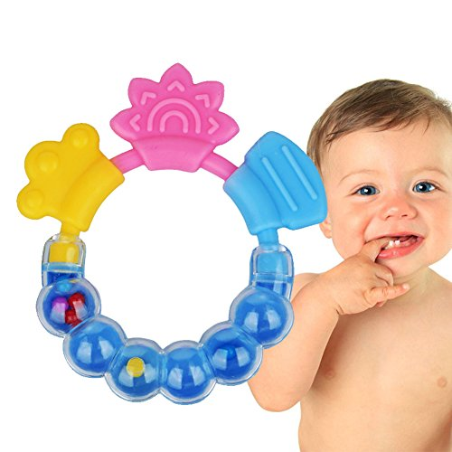 JUYUAN-EU Silicone Bite Teether Keys, Food Grade Silicone Infant Teething Toy Baby Chew Teething Toddlers Rattling Ring 51FV0Udw7mL