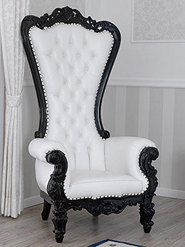 Sillón Regina Estilo Barroco Dark Trono Color Negro Lacado Eco-Piel Blanca Botones Swarovski