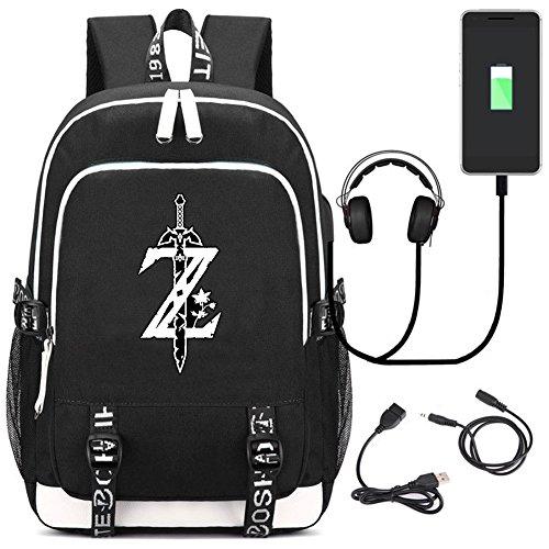 YOYOSHome The Legend of Zelda Japanische Anime Cosplay Daypack Laptoptasche Rucksack Schultasche mit USB-Ladeanschluss -