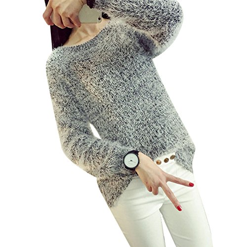 Molly Femmes Col Rond Manches longues Mohair Chandail Gris