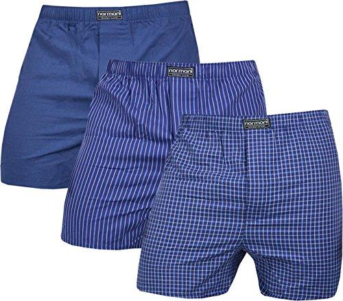 normani 3 x Herren Web Boxershorts aus Reiner Baumwolle Farbe Navy Größe S -