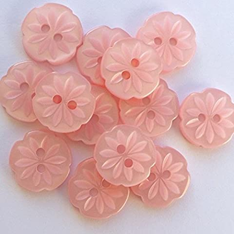 10 X Flower Buttons Size 24 ( 15mm) Pink Peach White Blue Lilac (pink)