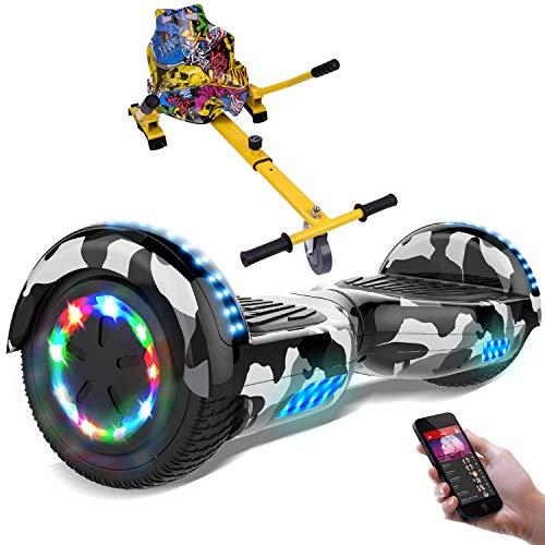 RCB Hoverboard elettrico Scooter elettrico con Hoverkart Go-Kart Costruito in luci a LED Bluetooth Speaker regalo per bambini e adulti UL2272 ruote 6.5 ''
