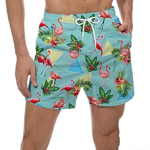 Goodstoworld Uomo Pantaloncini Calzoncini da Bagno Pantaloncini da Spiaggia Mare Piscina Costume Uomo da Bagno Ragazzo XL Fenicottero