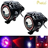 #5: Pivalo U7 LED Fog Light Bike Driving DRL Spotlight, High/Low Beam, Flashing With Red Angel Eyes Light Ring -Pack of 2