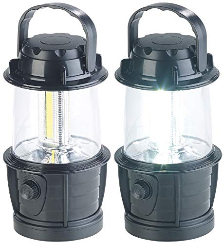 PEARL Campinglampe Batterie: 2er-Set dimmbare LED-Laternen, 3 COB-LEDs, Batteriebetrieb, 3W, 140 lm (Camping-Beleuchtung)