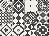 Sirface Geometrische Graustufen Fliesen Aufkleber–Fliesenaufkleber Aufkleber Set für Küche und Badezimmer–24Stück–Verschiedene Größen erhältlich, 6x6 inches | 15x15 cm