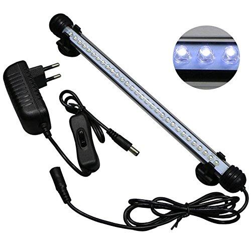 Mingdak LED Aquarium-Licht-Kit für Aquarium, Unterwasser -Tauchkristallglas -Leuchten geeignet für Salzwasser und Süßwasser, 30 Leds, 11-Zoll, Beleuchtung Farbe Weiß