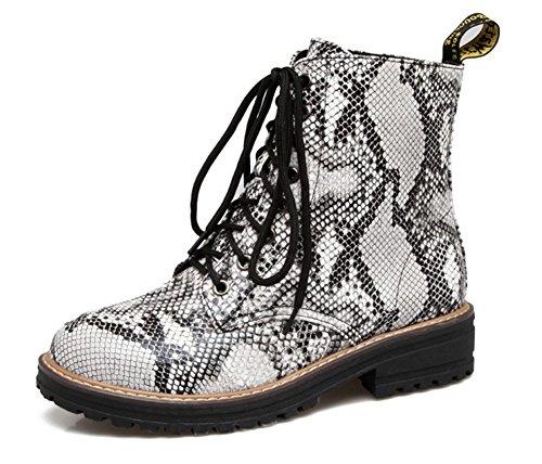 Stampato Donne Stivali Di Ranger D'argento Low Modo Serpente Di Boots Aisun qwx4R5Sdq