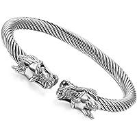 Flongo Bracciale charms aperto Drago di fortuna, Acciaio braccialetto intrecciato anello aperto regolabile, Ragazzi braccialetto donna elegante, Silver Gold