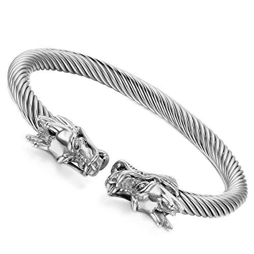 Flongo Herren Armband Damen Armreif, Edelstahl Armband Armreifen Manschette Silber Drahtseil Drachen Elegant Polished Männer, Frauen