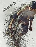 Sketch it: Split Background Wallpaper Decomposition Skateboard