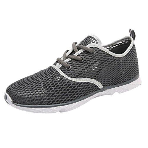 FNKDOR Herren Mesh Schuhe Atmungsaktiv Sport Wasserschuhe Gymnastikschuhe Aquaschuhe Badeschuhe (42, Grau)