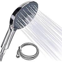 Duschkopf - FYLINA Handbrause mit 1.5m Edelstahl Schlauch mit 7 Strahlarten Croma 150mm,Universal Duschbrause Chrom Und Einstellbarer Wasserdurchfluss