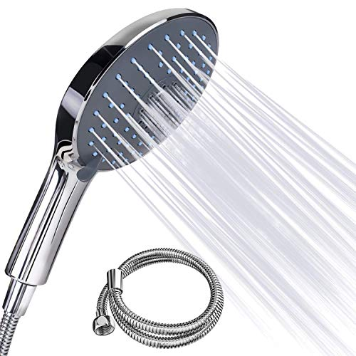 Duschkopf - FYLINA Handbrause mit 1.5m Edelstahl Schlauch mit 7 Strahlarten Croma 150mm,Universal Duschbrause Chrom Und Einstellbarer Wasserdurchfluss -