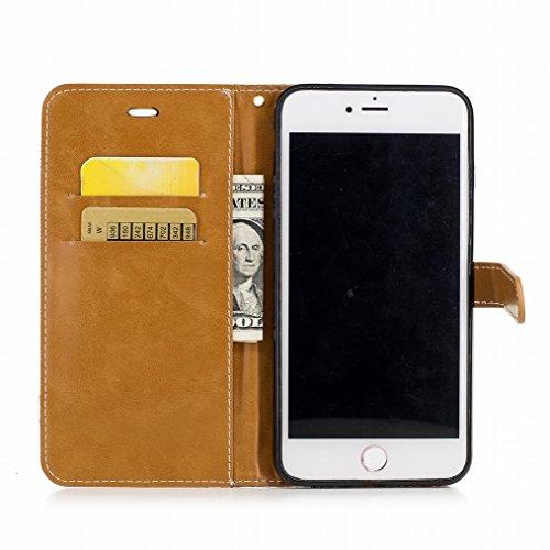 LEMORRY Cover Apple iPhone 7 Plus Custodia Pelle Portafoglio Cuoio Flip Borsa Con Slot per Schede Sottile Protettivo Magnetico Chiusura Morbido Silicone TPU Cover Case, Stile del denim Rosso Nero