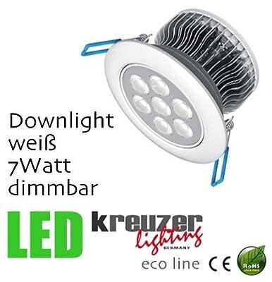 Kreuzer Lighting Eco Line White 7w Downlight Warm White Dimmbar Drehbar von kreuzer lighting